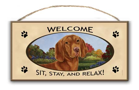 Hungarian Vizsla – Welcome Hanging Sign-0