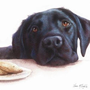Black Labrador - Watercolour Blank Card-0
