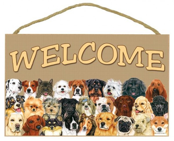 Multiply Dogs Welcome Hanging Sign
