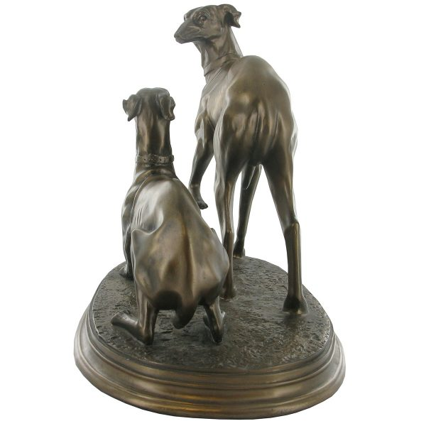 Pair of Whippets – Cold Cast Bronze-4390