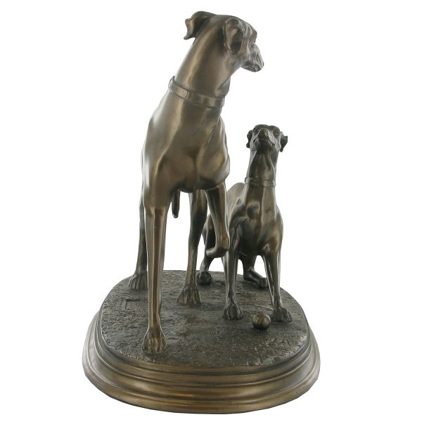 Pair of Whippets – Cold Cast Bronze-4389