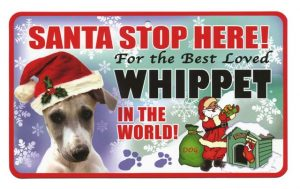 Whippet Santa Stop Here Sign-0