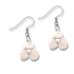 Enamel White Poodle Earrings-0