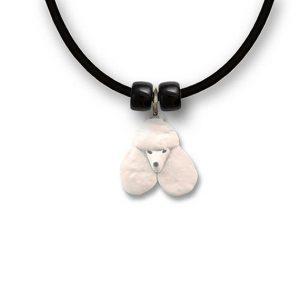 Enamel White Poodle Necklace-0
