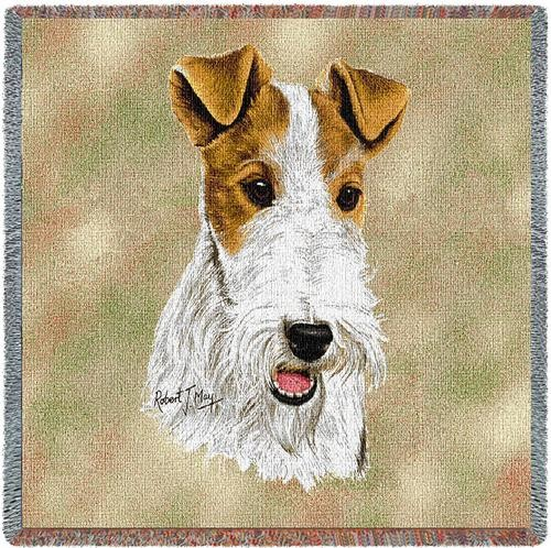 wire haired Fox terrier Tapestry throw