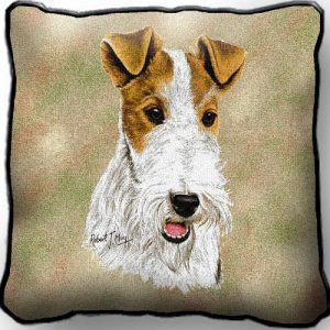 Wire Haired Fox Terrier Tapestry Cushion Cover-0