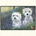 West Highland Terrier Bluebells Door Mat-0