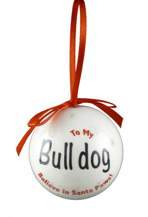 Bulldog Christmas Bauble-7231