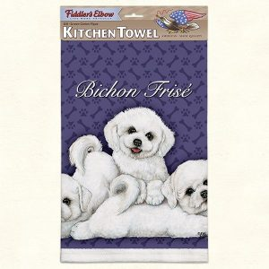 Bichon Frise Puppies - 100% Cotton Kitchen Towel-0