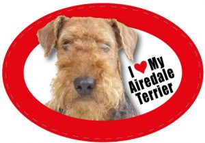 I Love My Airedale - Oval Magnet-0