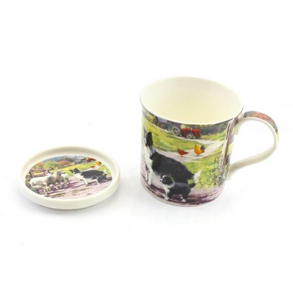 Border Collie & Sheep- Fine China Mug & Coaster set-0