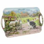 Border Collie & Sheep Large Tea Tray-0