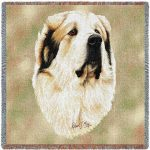 Pyrenean Mountain Dog Square Tapestry Throw