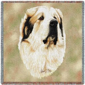 Pyrenean Mountain Dog Square Tapestry Throw-0