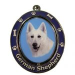 White Swiss Shepherd Spinning Keychain-0