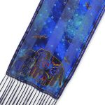"Laurel Burch Silk Scarf ""Canine Family"" with Fringe-0"