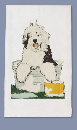 Old English Sheepdog Kitchen Tea Towel-0