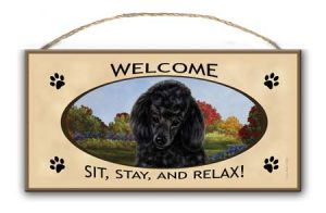 Black Poodle - Welcome Hanging Sign-0