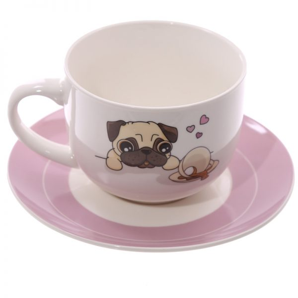 Pug Cappuccino Cup and Saucer -0
