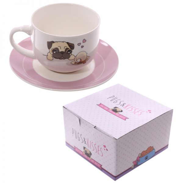 Pug Cappuccino Cup and Saucer -4574