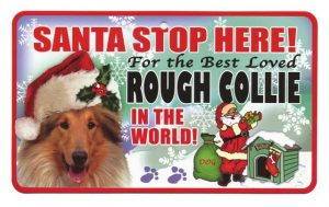 Rough Collie Santa Stop Here Sign-0