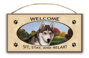 Siberian Husky - Welcome Hanging Sign-0