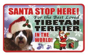 Tibetan Terrier Santa Stop Here Sign-0