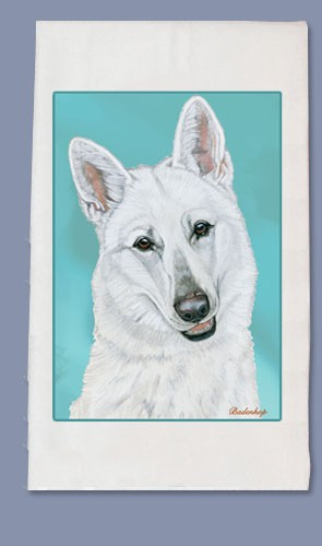 White Swiss Shepherd Kitchen Tea Towel-0