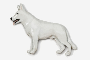White Swiss Shepherd Hand Painted Pin-0