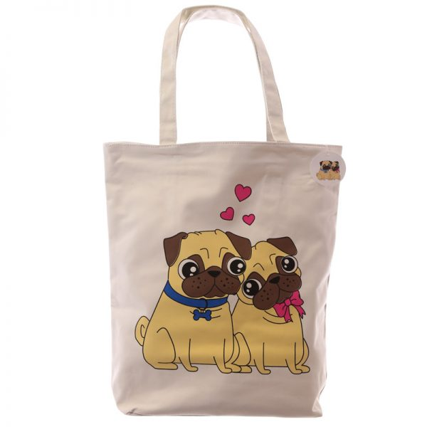 Pug Cotton Bag with zip-0