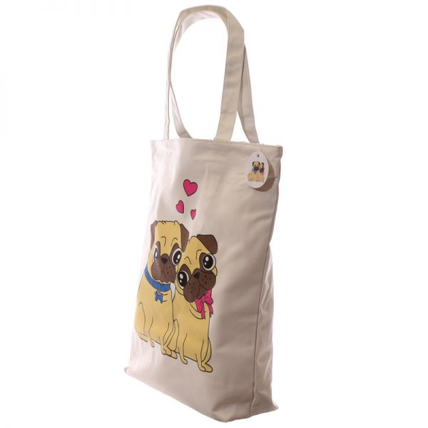 Pug Cotton Bag with zip-5702