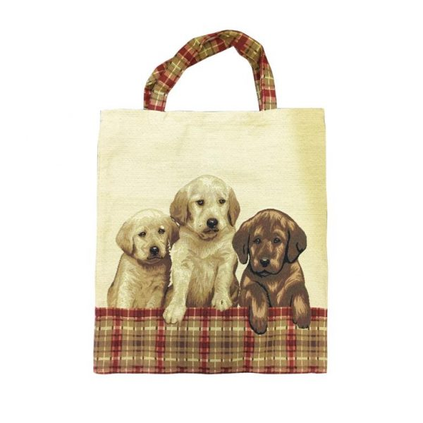 Labrador Puppies Tapestry Shopping Bag -0