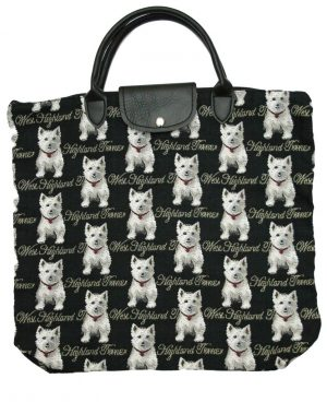 West Highland Terrier Tapestry Foldaway Shopping Bag-0