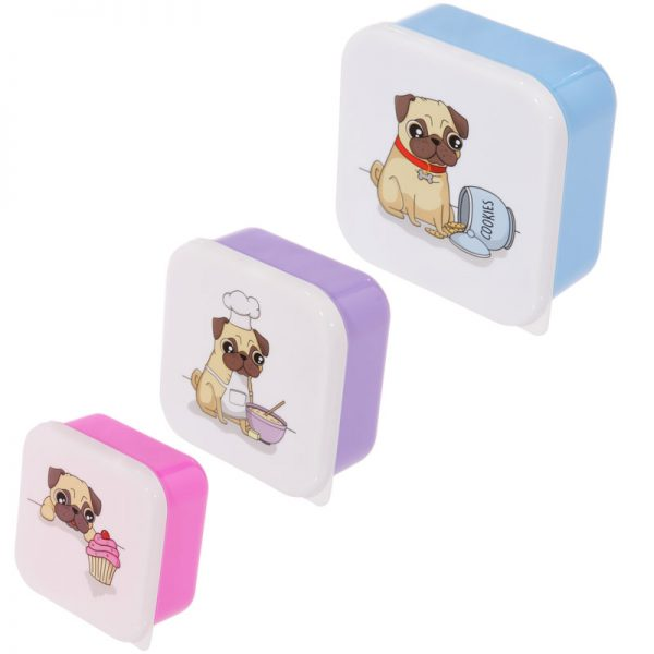 Pug Set of 3 Lunch Boxes-0