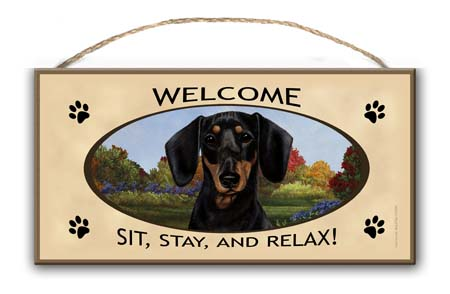 Dachshund- Welcome Hanging Sign-0