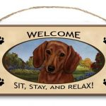 Dachshund- Welcome Hanging Sign (Red)-0