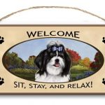 Shih Tzu- Welcome Hanging Sign (Black & White)-0