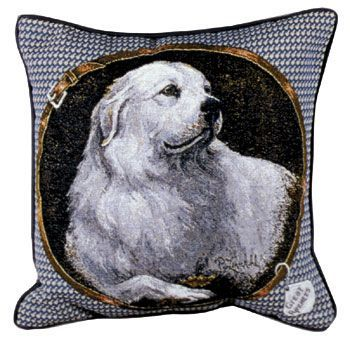 Pyrenean Mountain Dog – Tapestry filled cushion-0