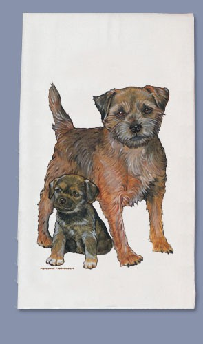 Border Terrier Kitchen Tea Towel-0