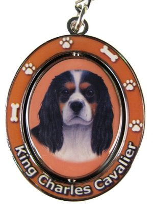 King Charles Spaniel Tri Colour Spinning Keychain-0