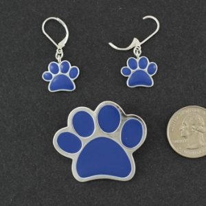 Paw Pendant /Brooch & Earrings- Blue-0
