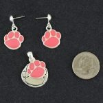 Paw Pendant & Matching Earrings - Pink-0