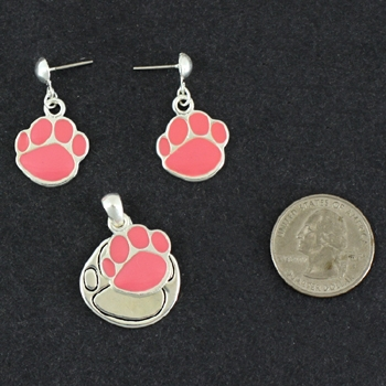 Paw Pendant & Matching Earrings – Pink-0