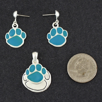 Paw Pendant & Matching Earrings-0