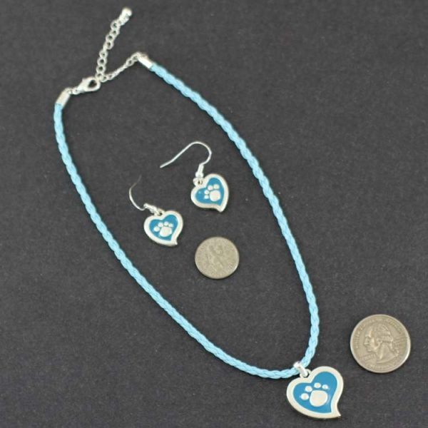 Paw print Heart shaped Ear rings & Pendant-6646