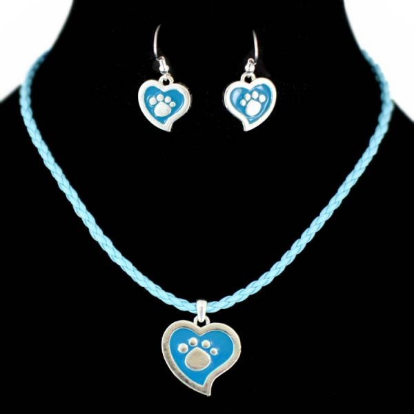 Paw print Heart shaped Ear rings & Pendant-0