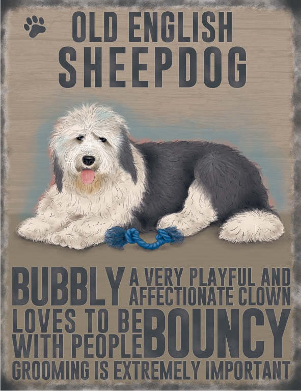 Old English Sheep Dog- Hanging Metal Sign-0