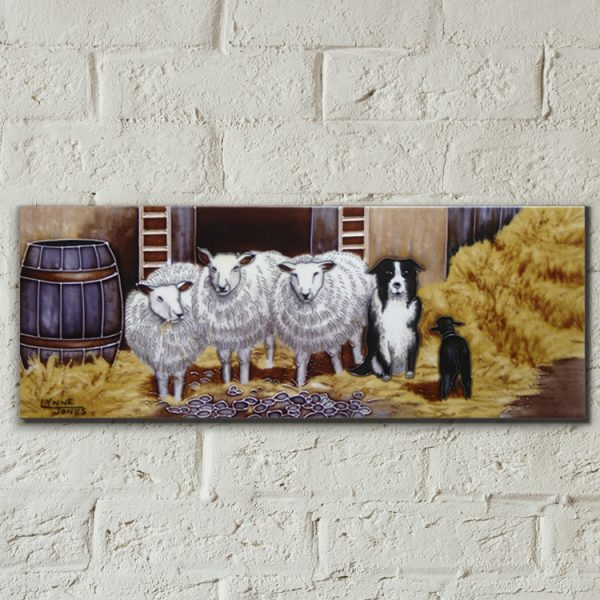 Border Collie with Sheep Ceramic Tile-0