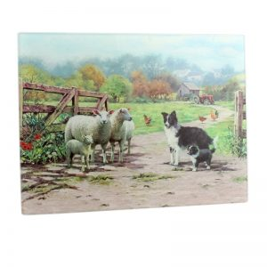 Border Collie & Sheep Large Cutting Board-0