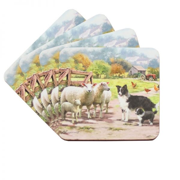 Border Collie & Sheep – Coasters-0